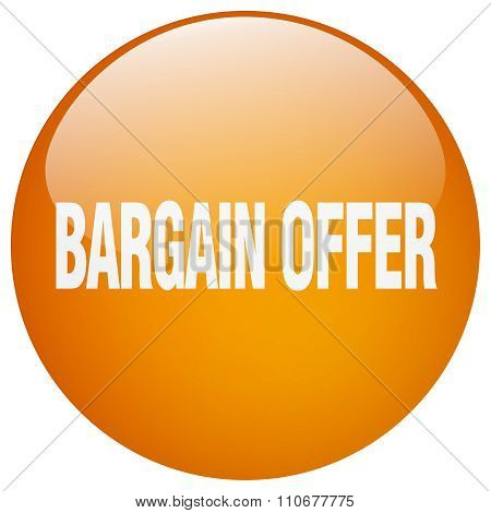 Bargain Offer Orange Round Gel Isolated Push Button