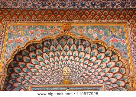 Close Up Of Lotus Gate In Pitam Niwas Chowk, Jaipur City Palace, Rajasthan, India