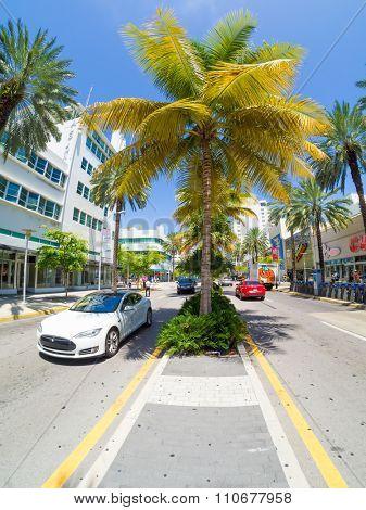 MIAMI,USA - AUGUST 8,2015 : Lincoln Road Boulevard in Miami Beach