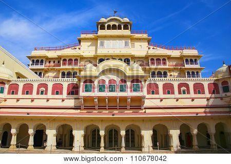Chandra Mahal Seen From Pitam Niwas Chowk, Jaipur City Palace, Rajasthan, India