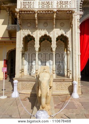 Statue Of Elephant At Rajendra Pol In Jaipur City Palace, Rajasthan, India