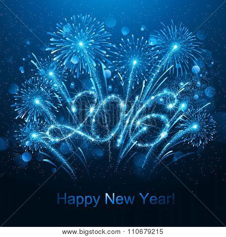 New Year fireworks and confetti 2016. Vector illustration
