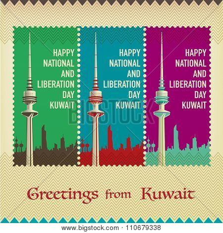 Three Vintage Style Postage Stamps - Happy Liberation And National Day Kuwait