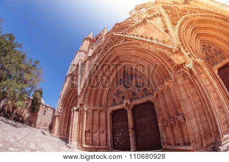 Facade Of Lala Mustafa Pasha Mosque. Famagusta, Cyprus