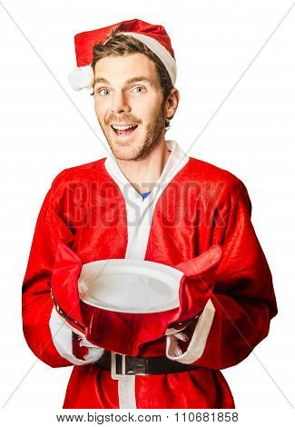Christmas Man Holding Empty Cooking Plate