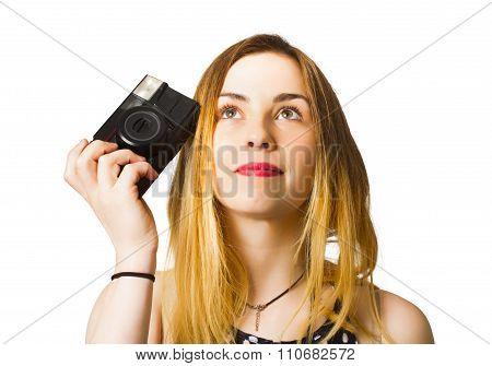 Thinking Photographer Girl