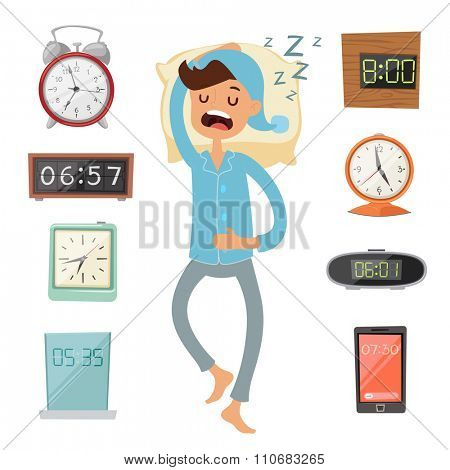 Alarm clock and sleeping man vector illustration. Sleeping man silhouette. Alarm vector clock watches. Morning time. People sleep. Deep night or morning time. Alarms collection