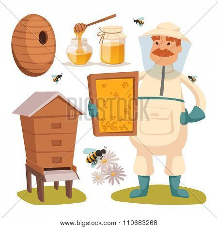 Apiary beekeeper vector illustrations. Apiary  vector symbols. Bee, honey, bee house, honeycomb. Honey natural healthy food production. Man beekeeer special costume. Bee, flowers, beehive and wax