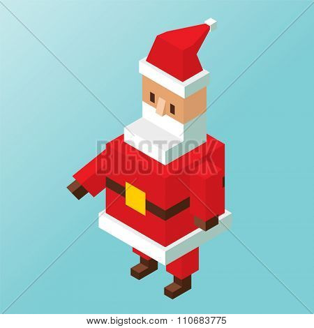 Santa Claus 3d isometric vector illustration. Santa Claus cartoot old man with red hat and sack. Santa Claus traditional costume. Santa Claus 3d isometric. Santa Claus stay, smile face.Christmas Santa