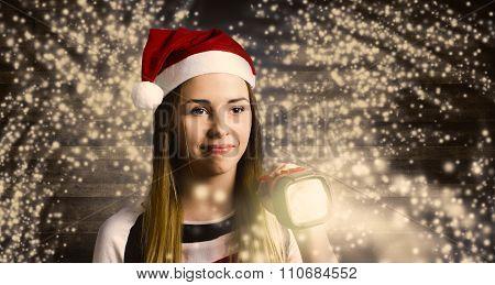 Woman At Christmas Light House Tour