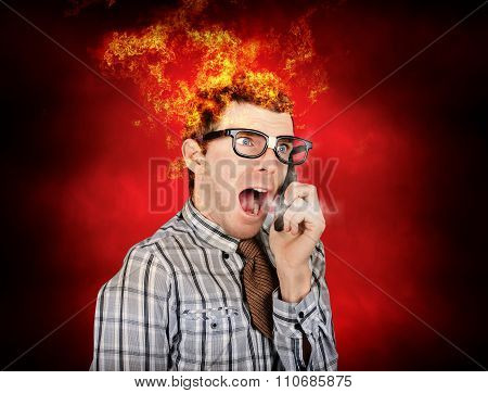 Angry Business Man Engulfed In Flames