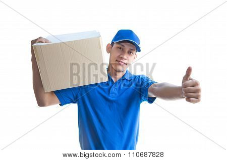 Asian Delivery Man Carrying A Parcel Box And Giving Thumbs Up