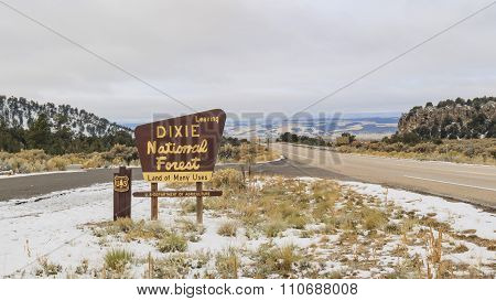 Sign Of Dixie National Forest In A Cloudy Day