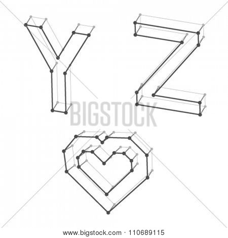 vector wireframe font alphabet letters Y Z heart