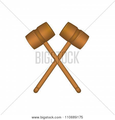 Two crossed wooden mallets in brown design