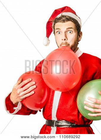 Christmas Party Planner Blowing Up Balloons