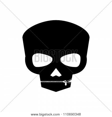Illustration Vector Black And White Human Skull With Zipper Closing Lips Shut, Do Not Tell Anyone Sy
