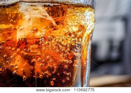 Cold soft drink with bubbles