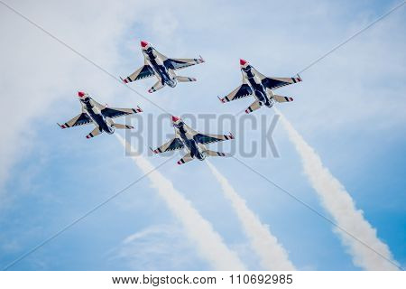 Usaf Fighter Planes In Diamond Formation