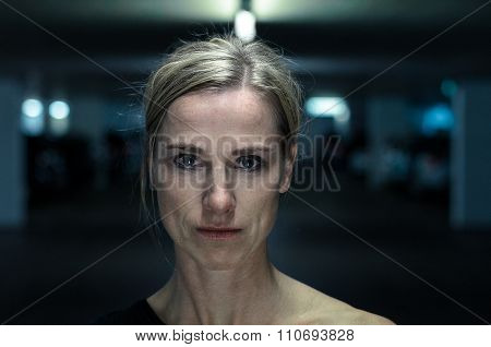 Night Portrait Of An Attractive Intense Woman
