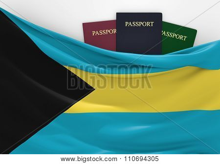 Travel and tourism in The Bahamas, with assorted passports