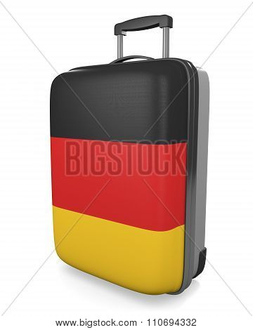 Germany vacation destination concept of a flag painted travel suitcase