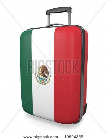 Mexico vacation destination concept of a flag painted travel suitcase