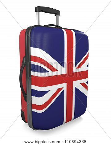 United Kingdom vacation destination concept of a flag painted travel suitcase