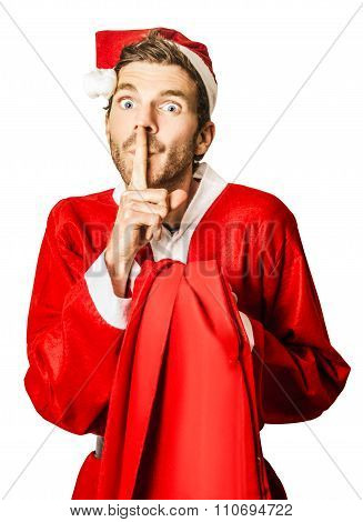 Isolated Secret Santa Over White Background