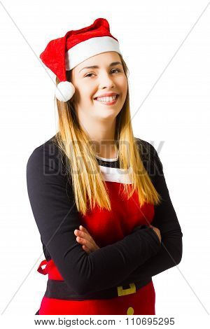 Isolated Christmas Girl Smiling In Cooking Apron