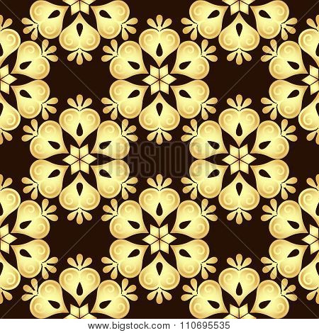 Seamless Brown-gold Vintage Pattern