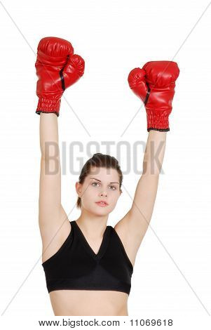 Young woman successful boxer