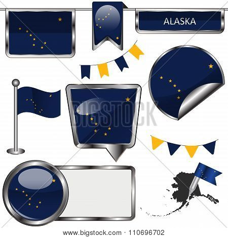 Glossy Icons With Flag Of State Alaska