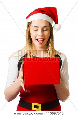 Isolated Woman With Surprise Christmas Gift Box