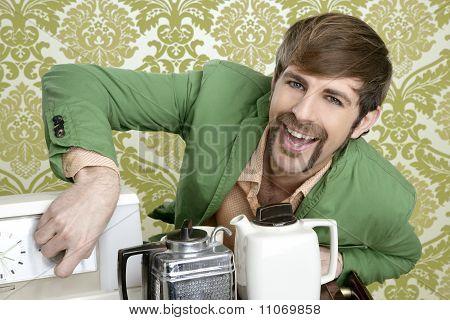Geek Retro Man Drinking Tea Coffee Vintage Teapot