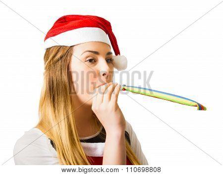 Xmas Girl Celebrating New Year Happiness