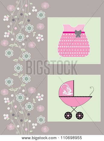 Vintage baby shower invitation card with ornate elegant retro abstract floral design, pink white and green flowers on gray with baby carriage and dress. Vector illustration.