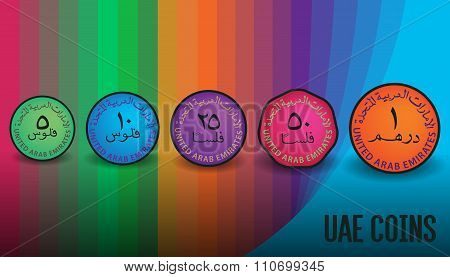 A Full Set Of UAE Colorful Coins