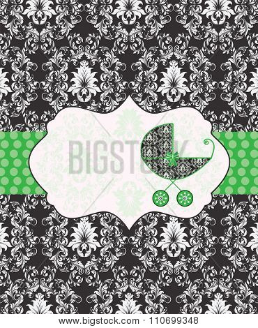 Vintage baby shower invitation card with ornate elegant retro abstract floral design, gray on black with baby carriage and green ribbon with polka dots. Vector illustration.