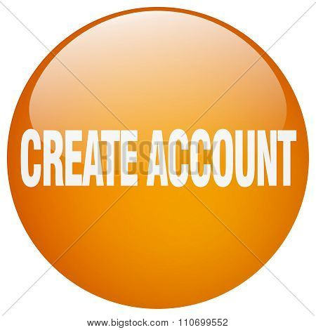 Create Account Orange Round Gel Isolated Push Button