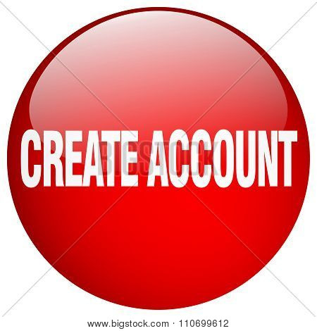 Create Account Red Round Gel Isolated Push Button