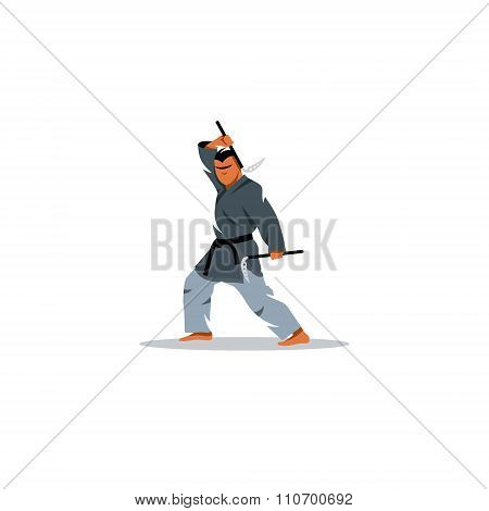 Japanese Kama martial arts. Vector Illustration.