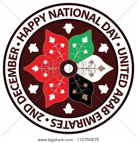 UAE National Flag Colors Arabesque Ornamental Badge Icon