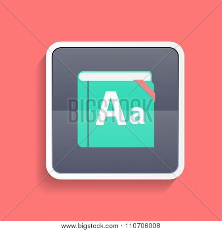 Flat Dictionary Icon  Vector Illustration