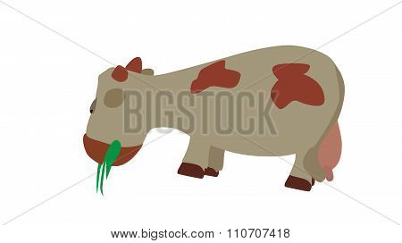 Cow Eats the Grass. Vector Illustration.