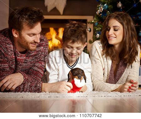 Happy family lying on floor playing with dachshund puppy at christmas time.