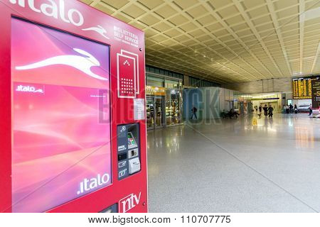 VENICE - SEPTEMBER 14, 2014: ticketing kiosk at railway station of Venice. Venice is a city in northeastern Italy sited on a group of 118 small islands separated by canals and linked by bridges