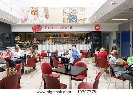 VERONA, ITALY - SEPTEMBER 15, 2014: inteior of cafe at Verona airport . Verona Villafranca Airport or simply Villafranca Airport is an airport located 2.7 NM southwest of Verona, Italy.