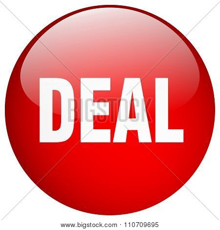 Deal Red Round Gel Isolated Push Button