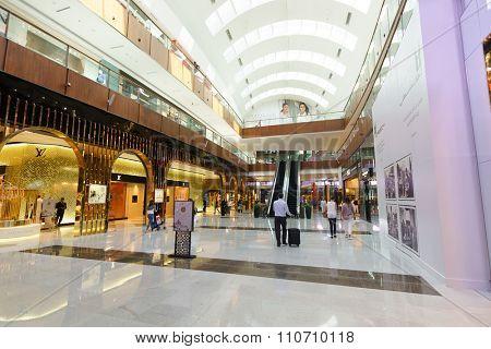 DUBAI - OCTOBER 15, 2014: interior of the Dubai Mall. The Dubai Mall located in Dubai, it is part of the 20-billion-dollar Downtown Dubai complex, and includes 1,200 shops.